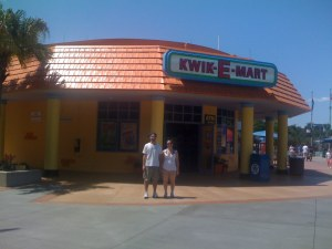 Ben and Melissa outside Kwik-E-Mart